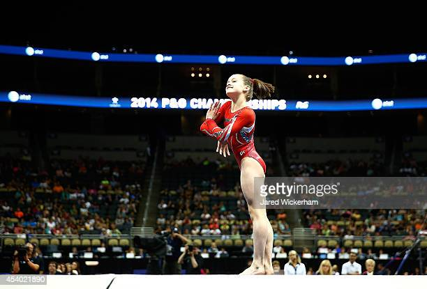 Norah Flatley competes on the floor exercise in the junior women finals during the 2014 PG Gymnastics Championships at Consol Energy Center on August...