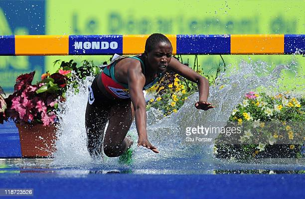 Norah Jeruto Tanui of Kenya stumbles on her way to winning the Girls 2000 metres steeplechase final during day five of the IAAF World Youth...