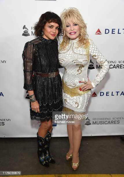 Norah Jones and Dolly Parton attend MusiCares Person of the Year honoring Dolly Parton at Los Angeles Convention Center on February 8 2019 in Los...