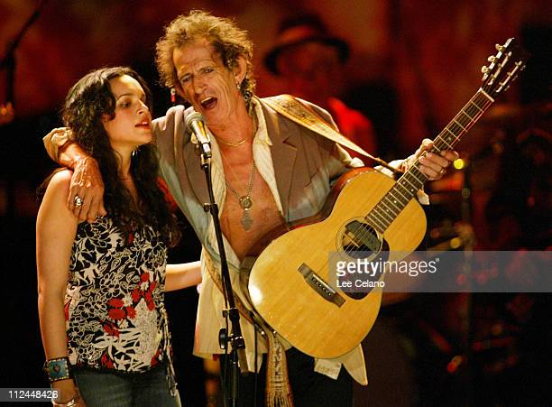 Norah Jones and Keith Richards during Return To Sin City A Tribute to Gram Parsons July 10 2004 at Universal Amphitheatre in Universal City...