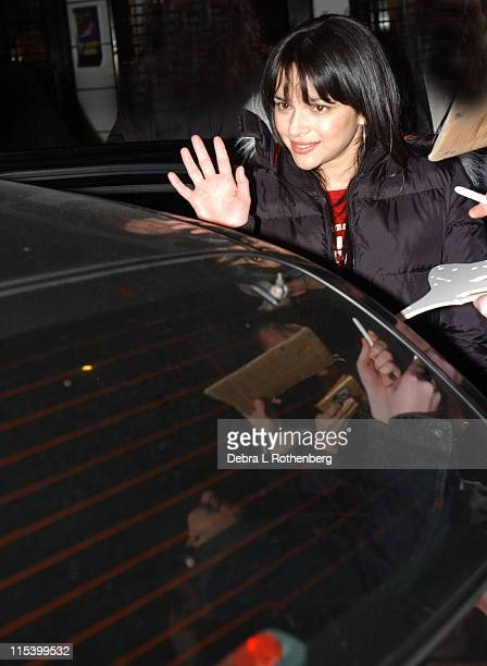 Norah Jones during Norah Jones Jeff Goldblum and Rob Cesternino from Survivor All Stars Stop by The Late Show with David Letterman at Ed Sullivan...