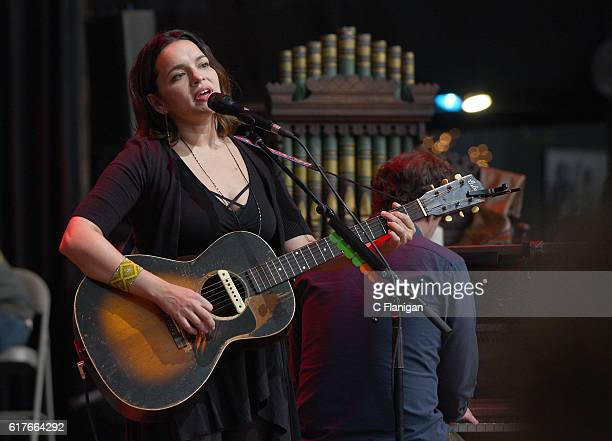 Norah Jones performs during the 30th Anniversary Bridge School Benefit Concert at Shoreline Amphitheatre on October 23 2016 in Mountain View...