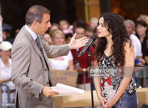 Norah Jones speaks with Matt Lauer on the set of the 2004 Toyota Concert Series On The Today Show June 30, 2004 in New York City.