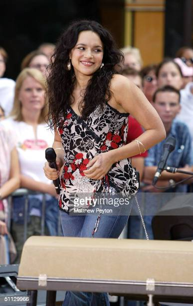 Norah Jones visits the set of the 2004 Toyota Concert Series On The Today Show June 30, 2004 in New York City.