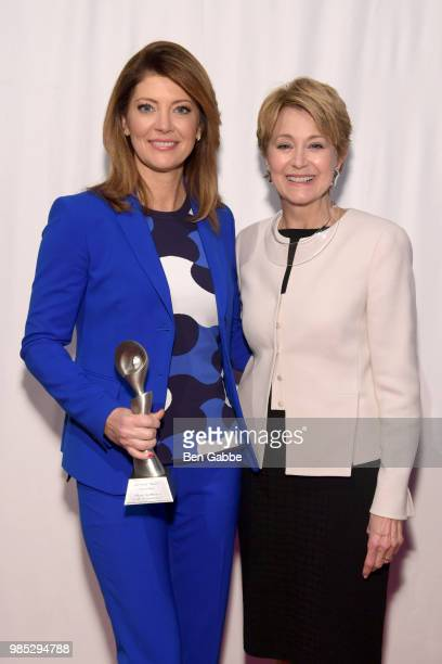 Norah O'Donnell and Jane Pauley attend The Gracies presented by the Alliance for Women in Media Foundation at Cipriani 42nd Street on June 27 2018 in...