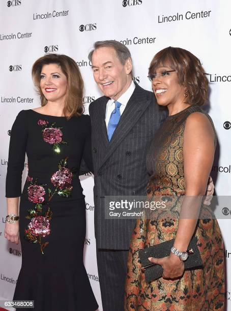 Norah O'Donnell Charlie Rose and Gayle King attend the 2017 American Songbook gala at Alice Tully Hall Lincoln Center on February 1 2017 in New York...