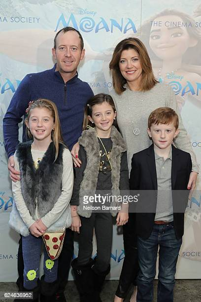 Norah O'Donnell Geoff Tracy Riley Norah Tracy Grace Tracy and Henry Tracy attend the Cinema Society Screening of Disney's Moana at Metrograph on...