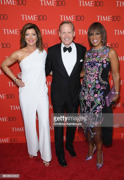 Norah O'Donnell John Dickerson and Gayle King attend the 2018 Time 100 Gala at Jazz at Lincoln Center on April 24 2018 in New York City