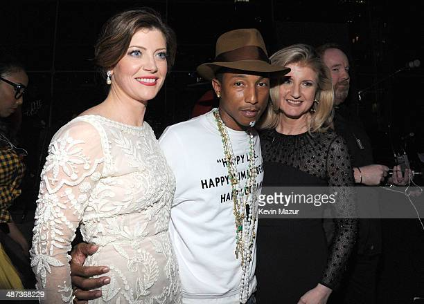 Norah O'Donnell Pharrell Williams and Ariana Huffington attend the TIME 100 Gala TIME's 100 most influential people in the world at Jazz at Lincoln...