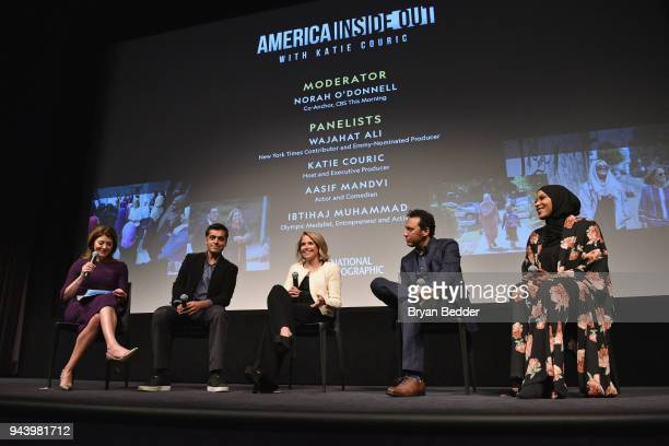 Norah O'Donnell Wajahat AliKatie Couric Aasif Mandvi and Ibtihaj Muhammad attend National Geographic's premiere screening of AMERICA INSIDE OUT WITH...
