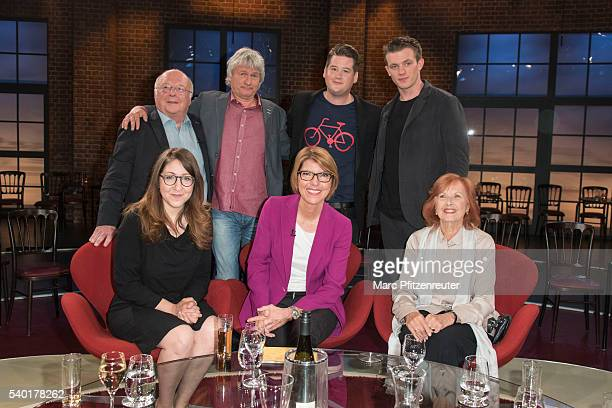 Norbert Bluem Juergen Becker Chris Tall Janis Niewoehner Deborah Feldman Bettina Boettinger and Brigitte Grothum attend the 'Koelner Treff' TV Show...