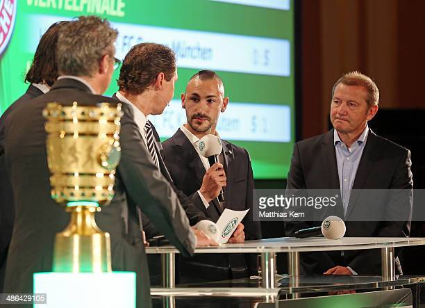 Norbert Dickel Neven Subotic Ralf Koettker Diego Contento and Wolfgang Dremmler attend the DFB cup handover at Wappensaal of the Rote Rathaus on...