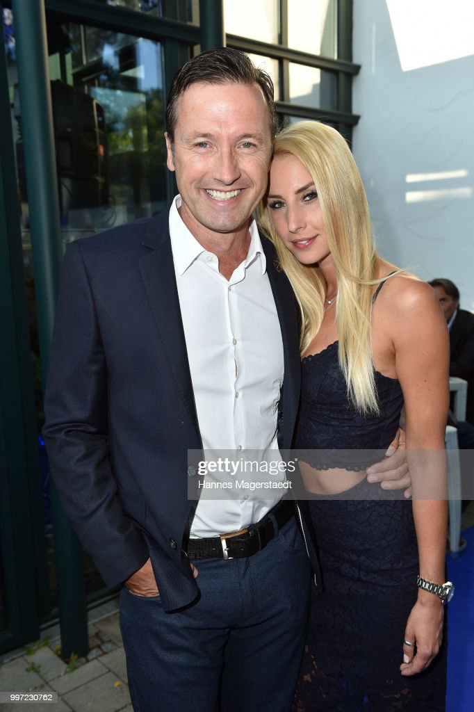 Norbert Dobeleit and his girlfriend Zsuzsi Gyuris during the dinner Royal at the Gruenwalder Einkehr on July 12, 2018 in Munich, Germany.