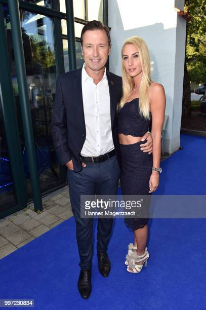 Norbert Dobeleit and his girlfriend Zsuzsi Gyuris during the dinner Royal at the Gruenwalder Einkehr on July 12 2018 in Munich Germany