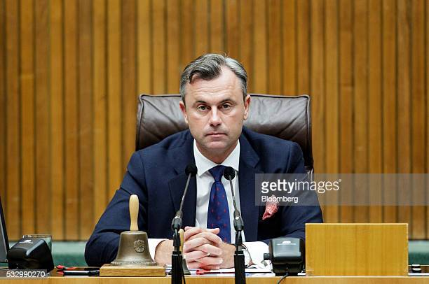 Norbert Hofer member of Austria's Freedom party and presidential candidate looks on during a parliament session in Vienna Austria on Thursday May 19...
