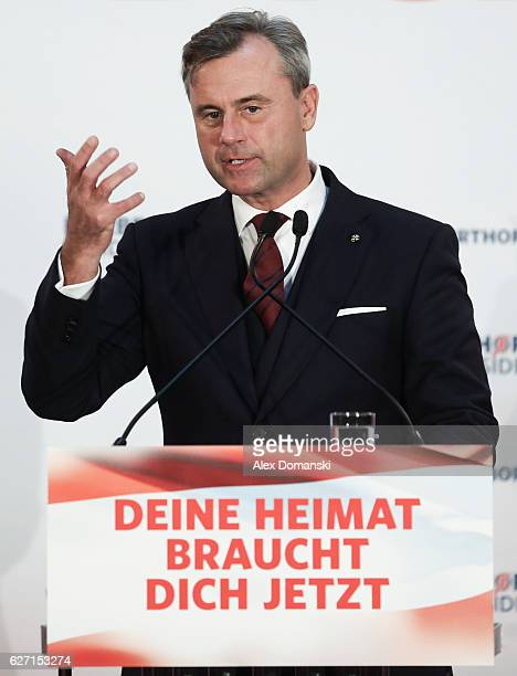 Norbert Hofer, presidential candidate for the right-wing populist Austria Freedom Party , speaks to supporters at his final election campaign rally...