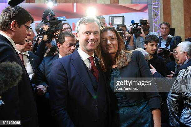 Norbert Hofer, presidential candidate for the right-wing populist Austria Freedom Party , poses with his wife Verena during the final election...