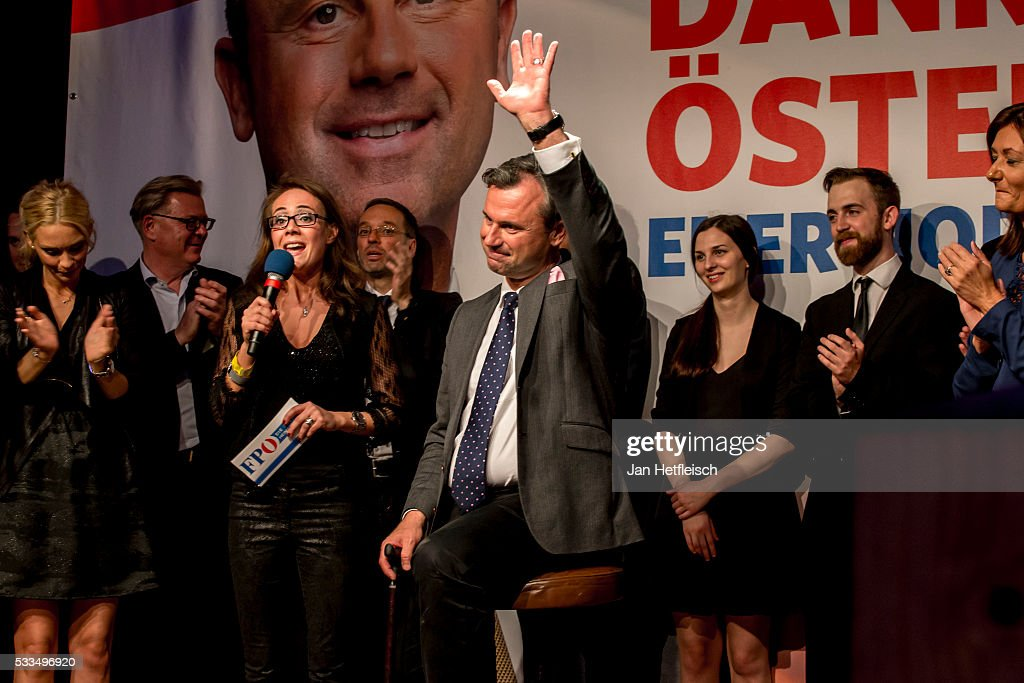 Norbert Hofer, presidential candidate of the right-wing populist Austrian Freedom Party (Freiheitliche Partei Oesterreichs, or FPOe), greets supporters at the FPOe election party following initial poll results during Austrian presidential elections on May 22, 2016 in Vienna, Austria. The FPOe is facing off against the Austrian Green Party and its presidential candidate, Alexander Van der Bellen. The FPOe's recent success is part of a larger trend across Europe in which right-wing parties have gained ground, in part due to public unease over the large influx of refugees and migrants over the past year and a half.