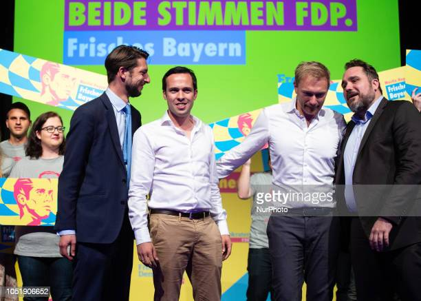 Norbert Hoffmann Martin Hagen Christian Lindner and Daniel Foest The top candidate of the FDP for the Bavarian State Elections Martin Hagen and the...