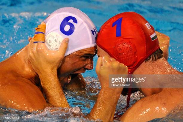 Norbert Hosnyanszky of Hungary and Viktor Nagy of Hungary celebrate efeating Croatia during the Men's Water Polo SemiFinal round between Hungary and...