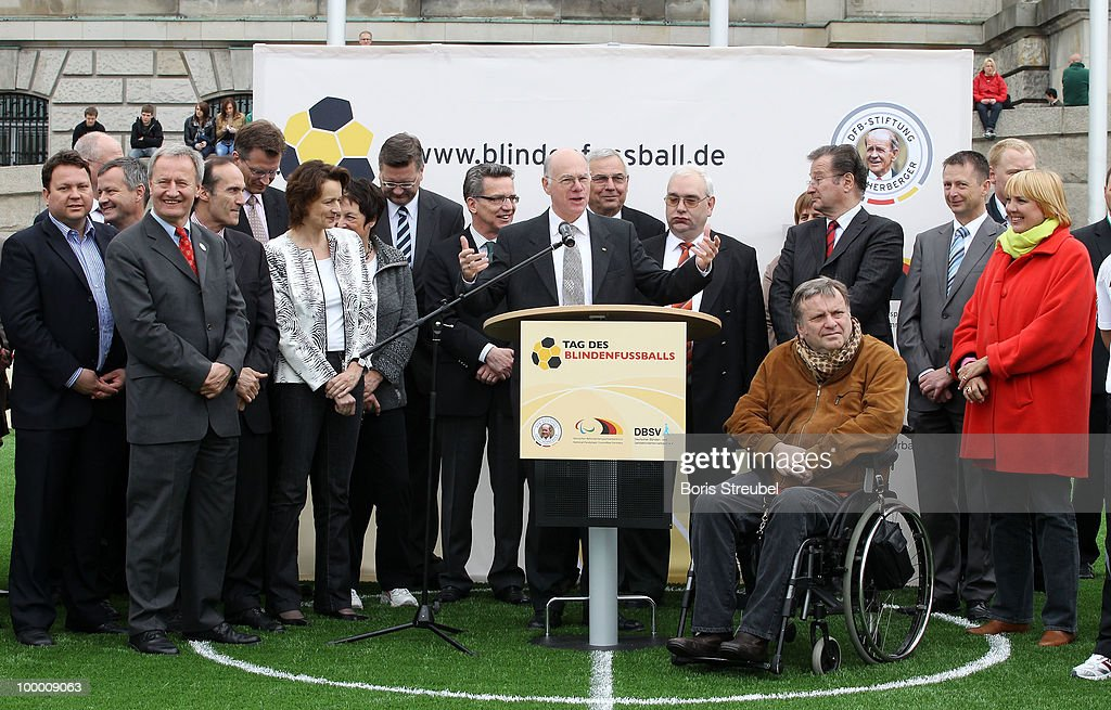 Norbert Lammert (C), president of the Bundestag declares the 'Day of Blind Football' open in front of the Reichstag on May 20, 2010 in Berlin, Germany.