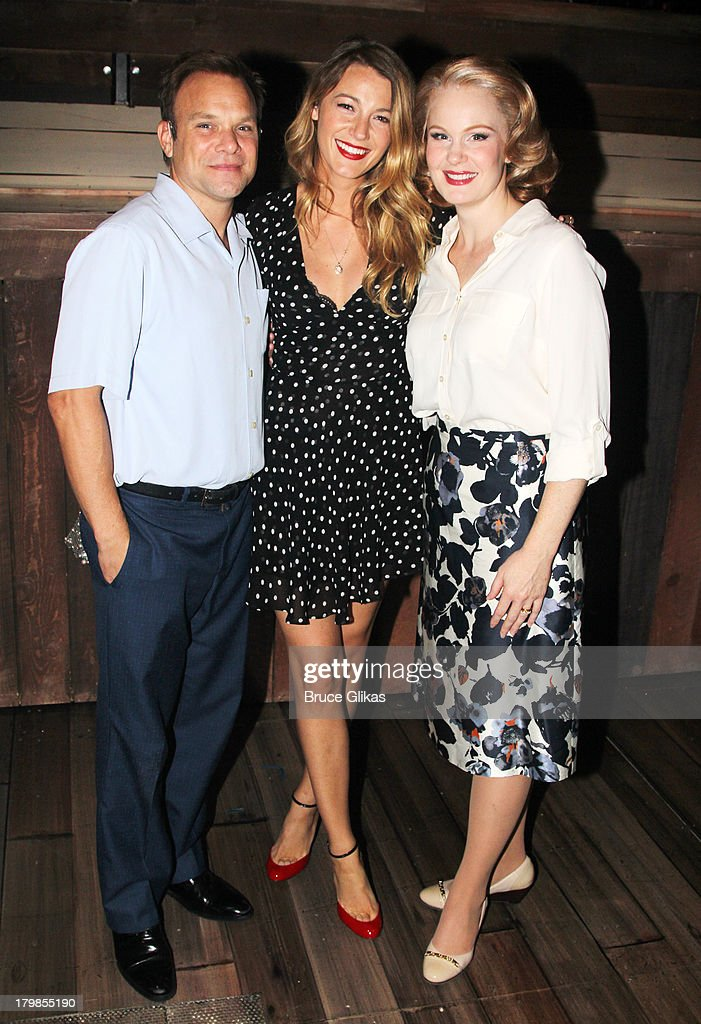 Norbert Leo Butz, Blake Lively and Kate Baldwin pose backstage (as Blake Lively and Ryan Reynolds celebrate their 1st wedding anniversary) at the musical 'Big Fish' on Broadway at The Neil Simon Theater on September 6, 2013 in New York City.