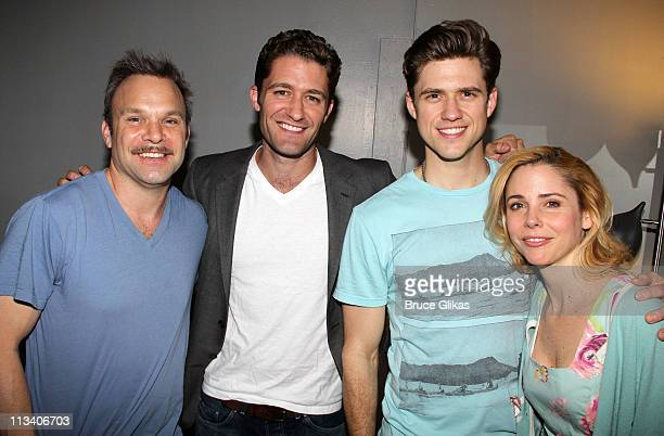 Norbert Leo Butz Matthew Morrison Aaron Tveit and Kerry Butler pose backstage at the hit musical Catch Me if You Can on Broadway at The Neil Simon...