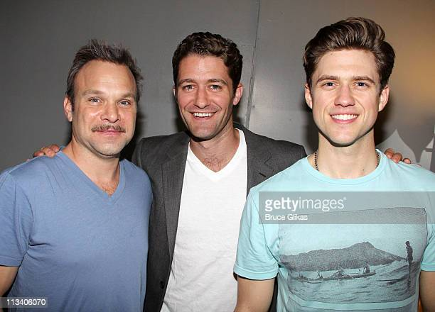 Norbert Leo Butz Matthew Morrison and Aaron Tveit pose backstage at the hit musical Catch Me if You Can on Broadway at The Neil Simon Theater on May...