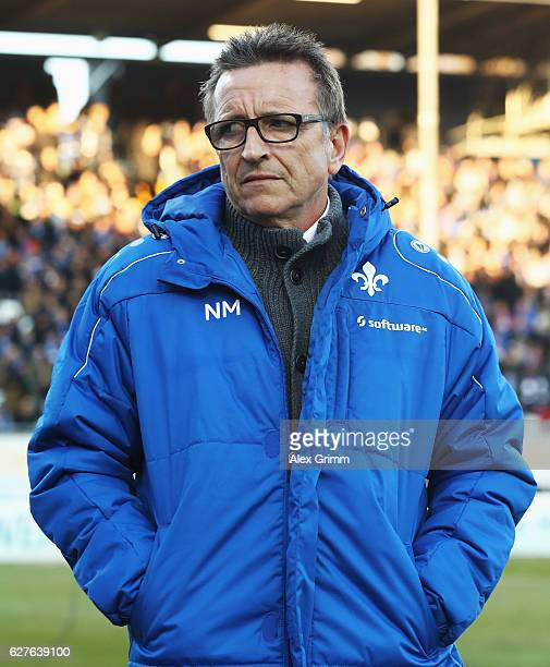 Norbert Meier head coach of Darmstadt looks on during the Bundesliga match between SV Darmstadt 98 and Hamburger SV at Stadion am Boellenfalltor on...