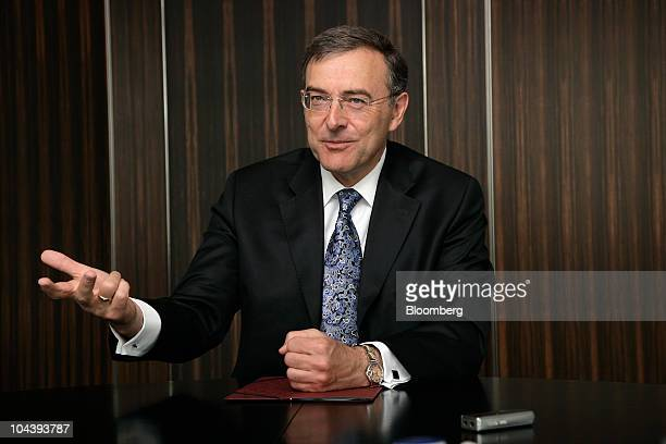 Norbert Reithofer chief executive officer of Bayerische Motoren Werke AG gestures while speaking during an interview in Munich Germany on Friday Sept...