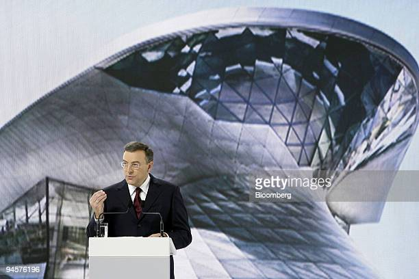 Norbert Reithofer chief executive officer of Bayerische Motoren Werke AG speaks at the opening ceremony for the new BMW World customer center in...