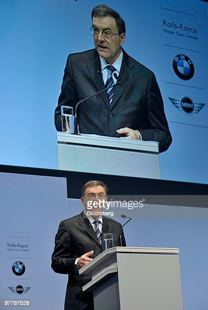 Norbert Reithofer chief executive officer of Bayerischen Motoren Werke AG speaks during the company's news conference in Munich Germany on Wednesday...