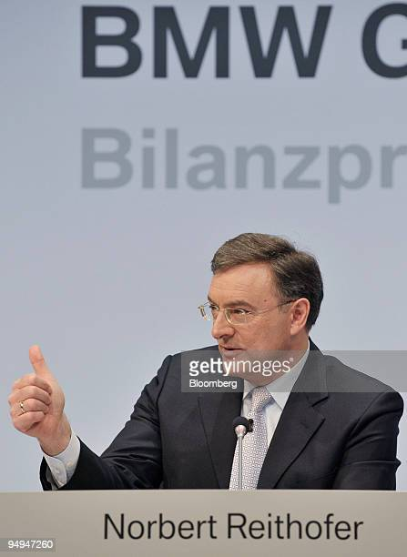 Norbert Reithofer chief executive officer of BMW Group speaks during the presentation of the company's 2008 results in Munich Germany on Wednesday...