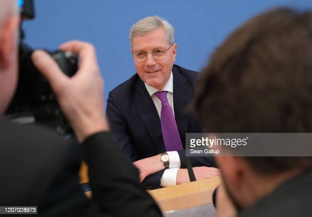 Norbert Roettgen a prominent member of the German Christian Democrats and former German environment minister arrives to speak to the media to confirm...