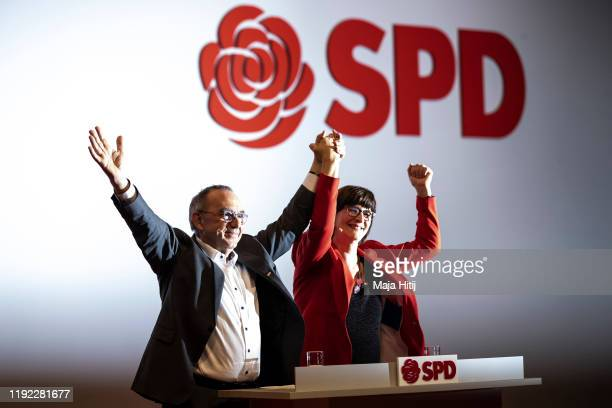 Norbert Walter-Borjans and Saskia Esken, who were recently voted new co-leaders of the German Social Democrats , attend the SPD federal party...
