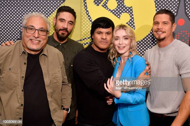 Norberto Barba Clayton Cardenas Elgin James Sarah Bolger and J D Pardo from FX's 'Mayans MC' attend the Pizza Hut Lounge at 2018 ComicCon...