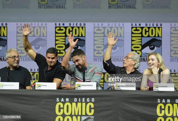 Norberto Barba JD Pardo Clayton Cardenas Edward James Olmos and Sarah Bolger speak onstage at the Mayans MC discussion and QA during ComicCon...