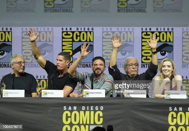 Norberto Barba JD Pardo Clayton Cardenas Edward James OlmosSarah Bolger speak onstage at the Mayans MC discussion and QA during ComicCon...