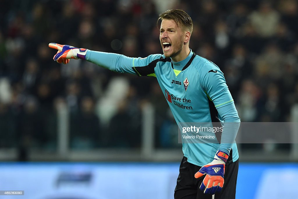 Norberto Murara Neto of ACF Fiorentina reacts during the TIM Cup match between Juventus FC and ACF Fiorentina at Juventus Arena on March 5, 2015 in Turin, Italy.