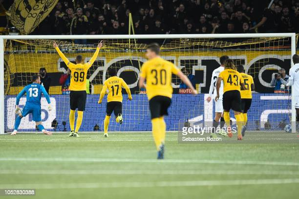 Norberto Murara Neto of Valencia Guillaume Hoarau of Bern and Roger Assale of Bern during the UEFA Champions League match between Young Boys Berne...