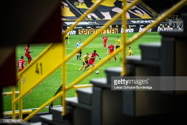Nordi Mukiele of Leipzig and Thorgan Hazard of Dortmund in action during the Bundesliga match between Borussia Dortmund and RB Leipzig at Signal...