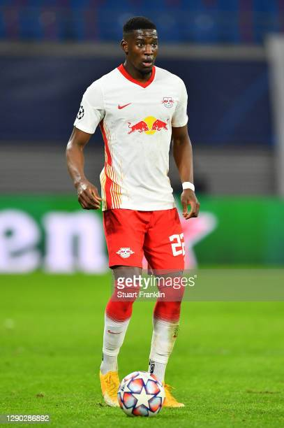 Nordi Mukiele of Leipzig in action during the UEFA Champions League Group H stage match between RB Leipzig and Manchester United at Red Bull Arena on...