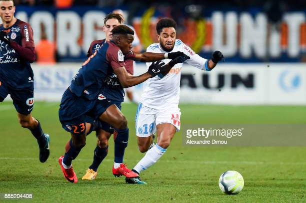 Nordi Mukiele of Montpellier and Jordan Amavi of Marseille during the Ligue 1 match between Montpellier Herault SC and Olympique Marseille at Stade...