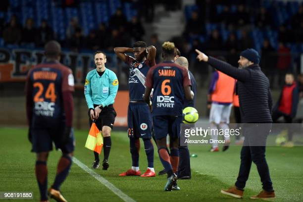 Nordi Mukilele of Montpellier during the Ligue 1 match between Montpellier and Toulouse at Stade de la Mosson on January 20 2018 in Montpellier France