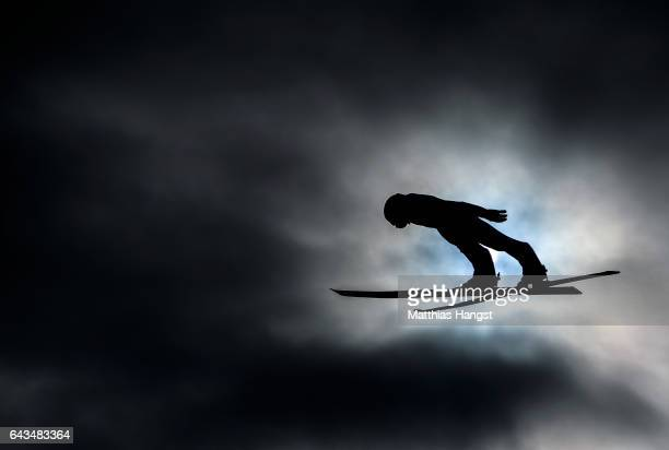 Nordic Combined athlete takes part in Ski Jump training ahead of the FIS Nordic World Ski Championships on February 21 2017 in Lahti Finland