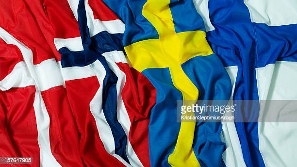 nordic flags - nordic countries stock pictures, royalty-free photos & images