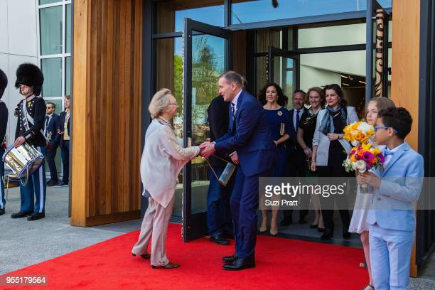 Nordic Museum Board President Irma Goertzen shakes hands with the President of Iceland Gudni Th Johannesson as Crown Princess Mary of Denmark...