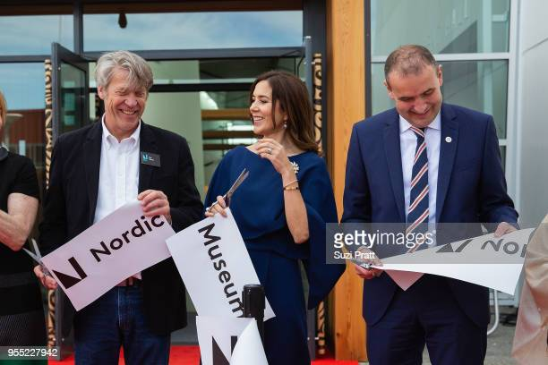 Nordic Museum Executive Director Eric Nelson Her Royal Highness the Crown Princess Mary of Denmark and President of Iceland Gudni Th Johannesson hold...