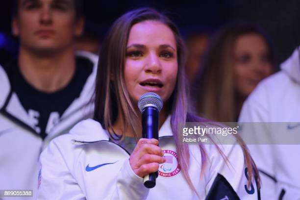 Nordic skier Oksana Masters speaks during the 100 Days Out 2018 PyeongChang Winter Olympics Celebration Team USA in Times Square on November 1 2017...