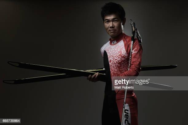 Nordic Skier Yoshihiro Nitta of Japan poses for photograph during a portrait session on June 8 2017 in Tokyo Japan